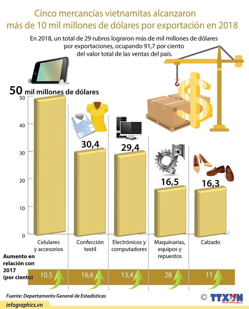 (Info) Cinco mercancias vietnamitas alcanzaron mas de 10 mil millones de dolares por exportacion en 2018 hinh anh 1