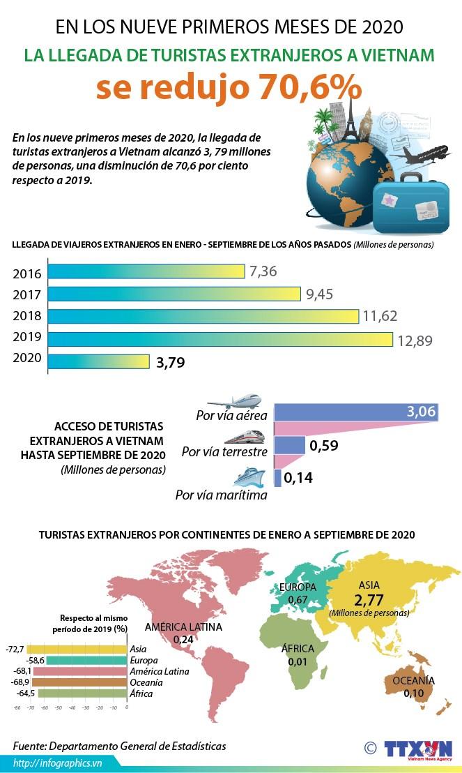 Llegada de turistas extranjeros a Vietnam se redujo 70,6% en los nueve primeros meses de 2020 hinh anh 1