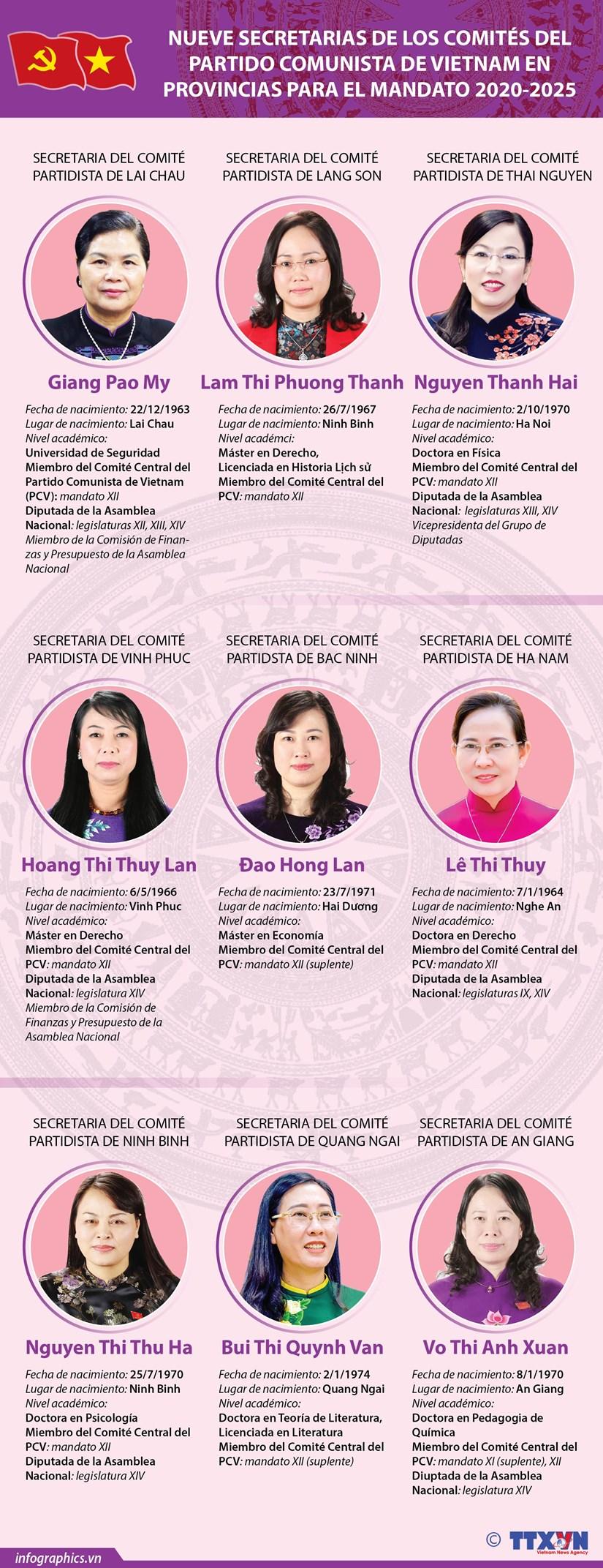 Nueve secretarias de los comites del Partido Comunista de Vietnam en provincias para el mandato 2020-2025 hinh anh 1