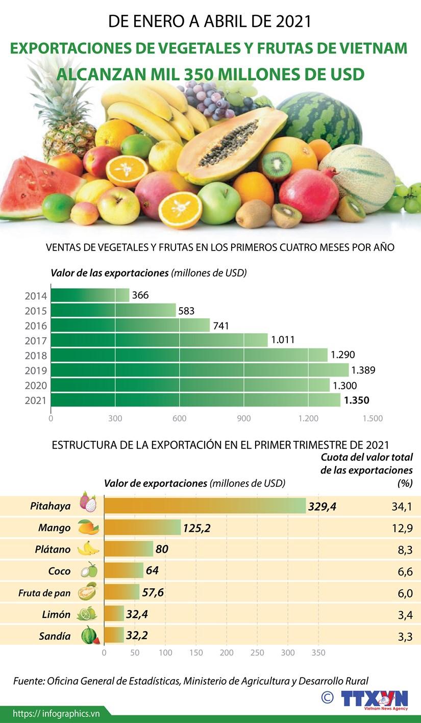 Exportaciones de vegetales y frutas de Vietnam alcanzan mil 350 millones de dolares hinh anh 1