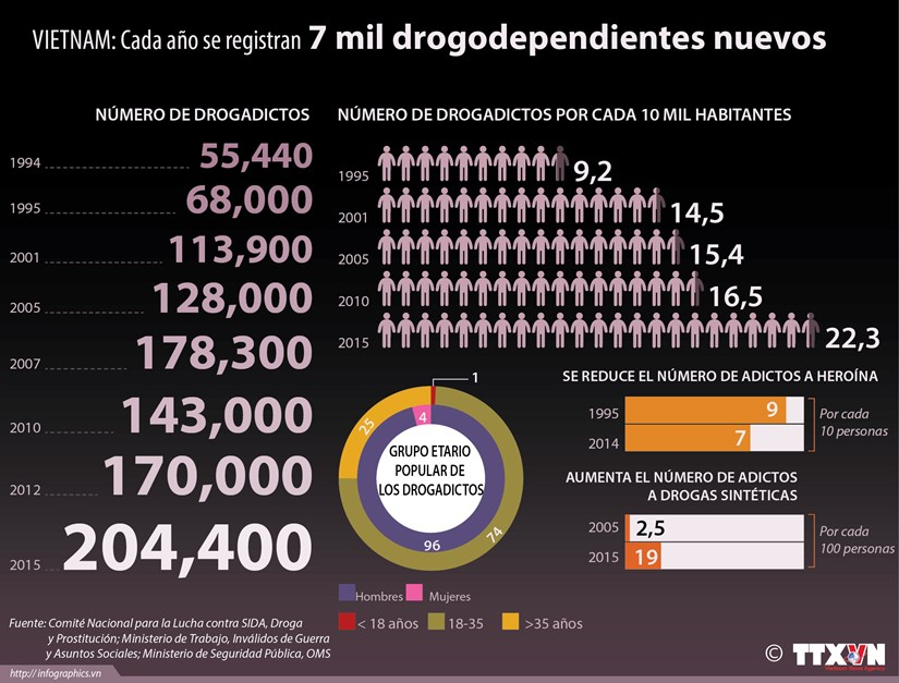 [Infografia] Registran cada ano siete mil drogodependientes nuevos en Vietnam hinh anh 1