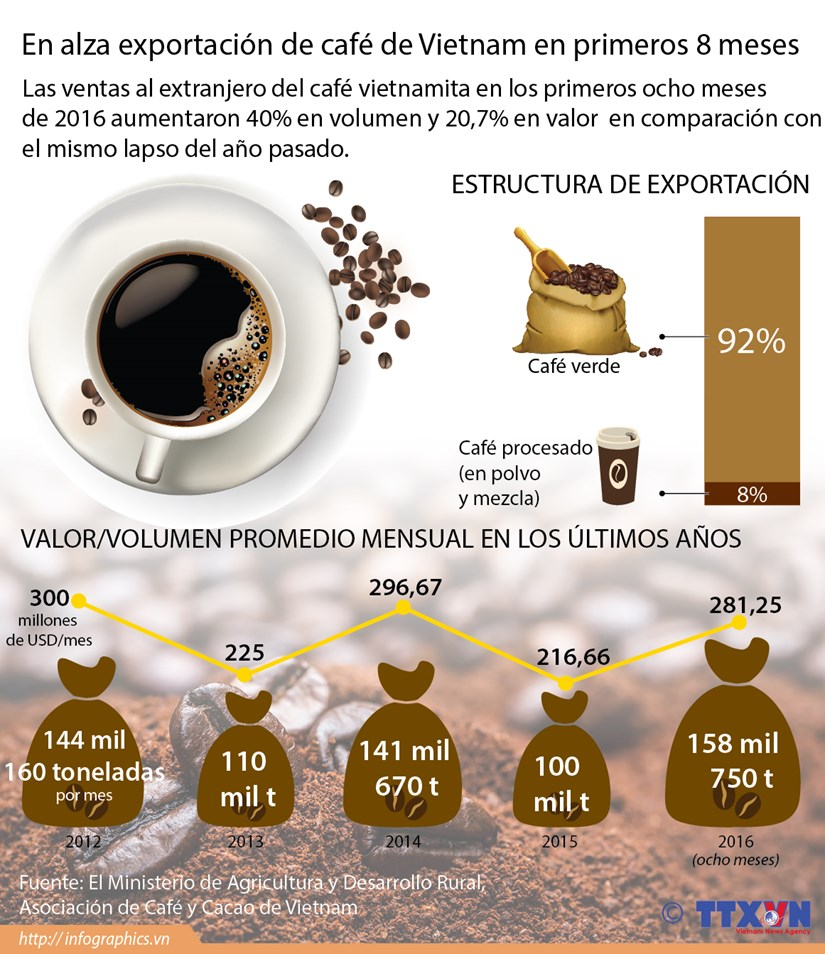 [Infografia] En alza exportacion de cafe de Vietnam en primeros ocho meses hinh anh 1