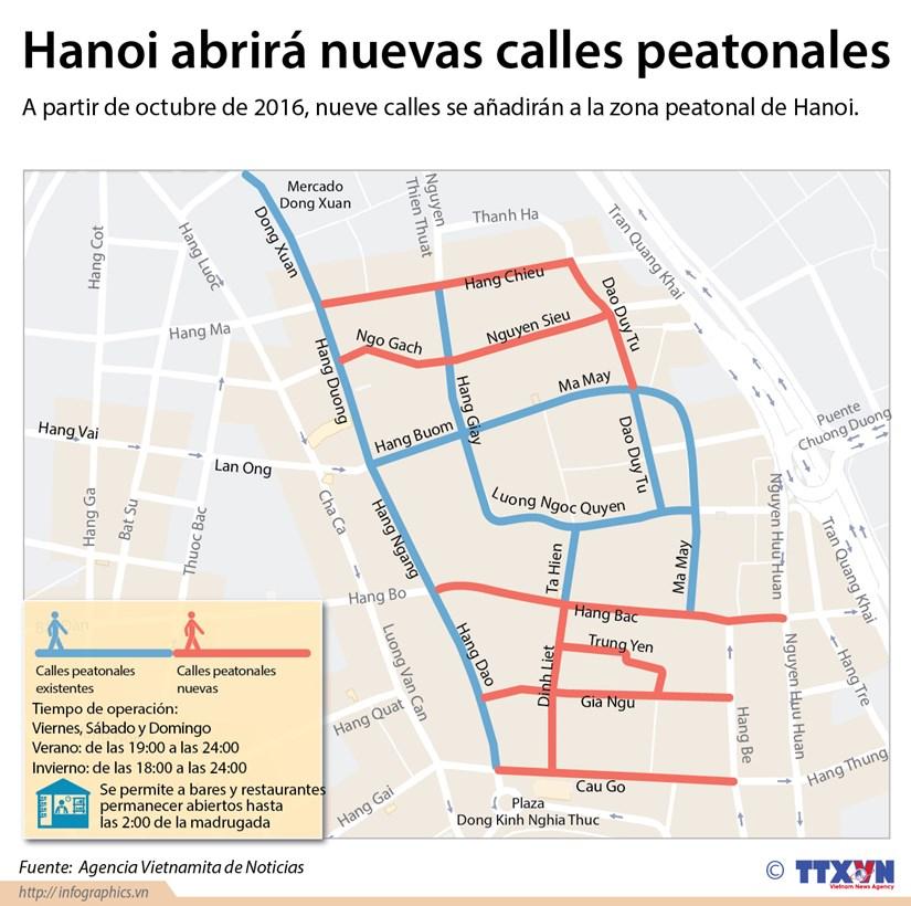 [Infografia] Hanoi abrira nuevas calles peatonales hinh anh 1