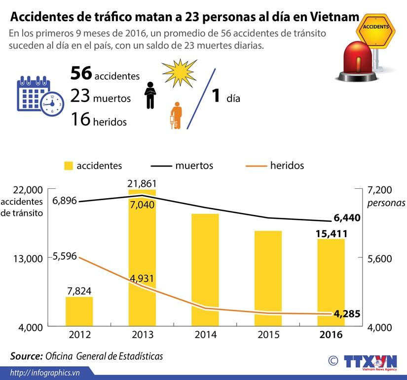 [Infografia] Accidentes de trafico matan a 23 personas al dia en Vietnam hinh anh 1