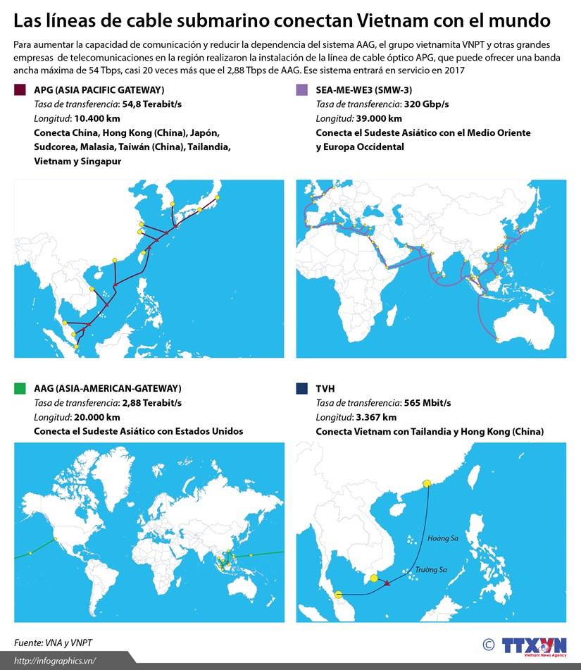 [Infografia] Cables submarinos que conectan Vietnam con el mundo hinh anh 1