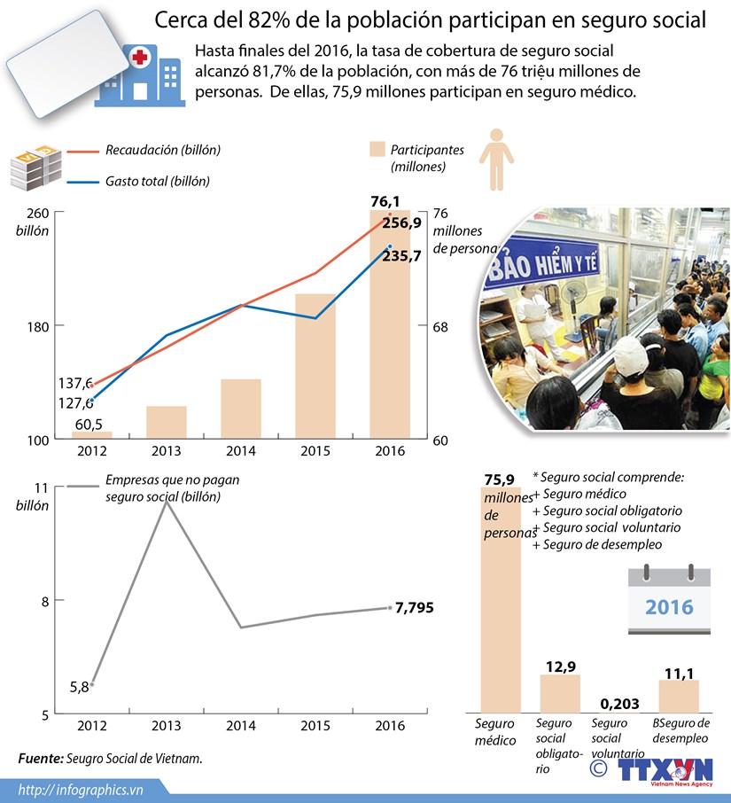 [Infografia] Cerca del 82 por ciento de la poblacion participan en seguro social hinh anh 1