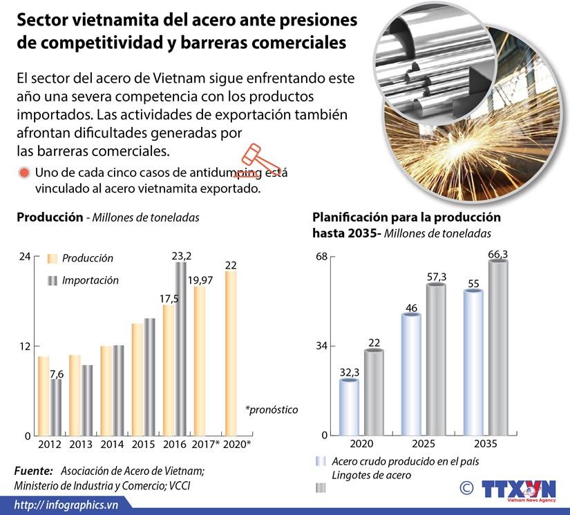 [Infografia] Sector vietnamita del acero ante presiones de competitividad y barreras comerciales hinh anh 1