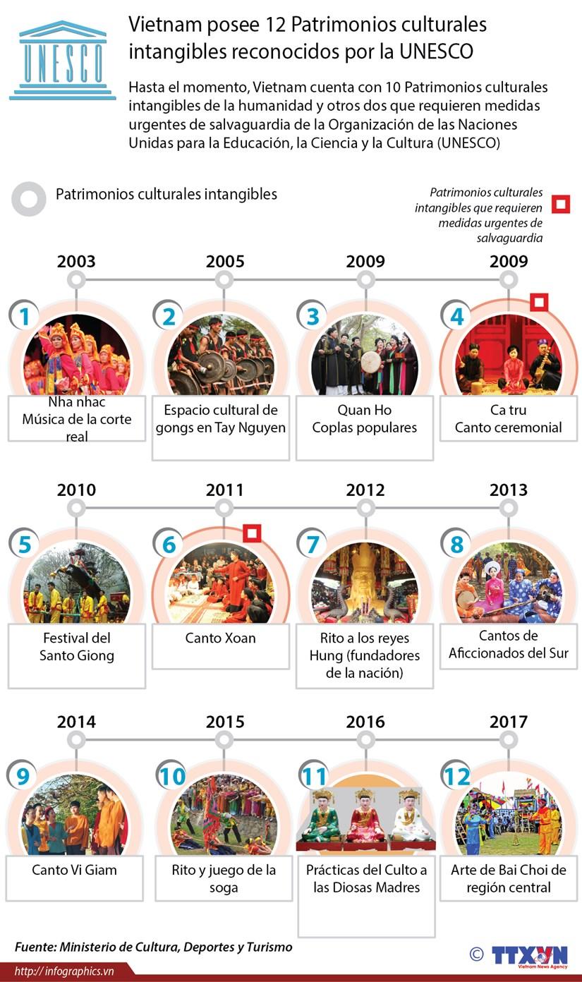 [Infografia] Vietnam posee 12 Patrimonios culturales intangibles reconocidos por la UNESCO hinh anh 1