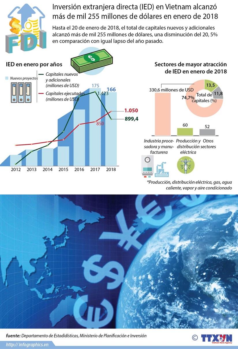 Inversion extranjera directa en Vietnam disminuye en enero hinh anh 1