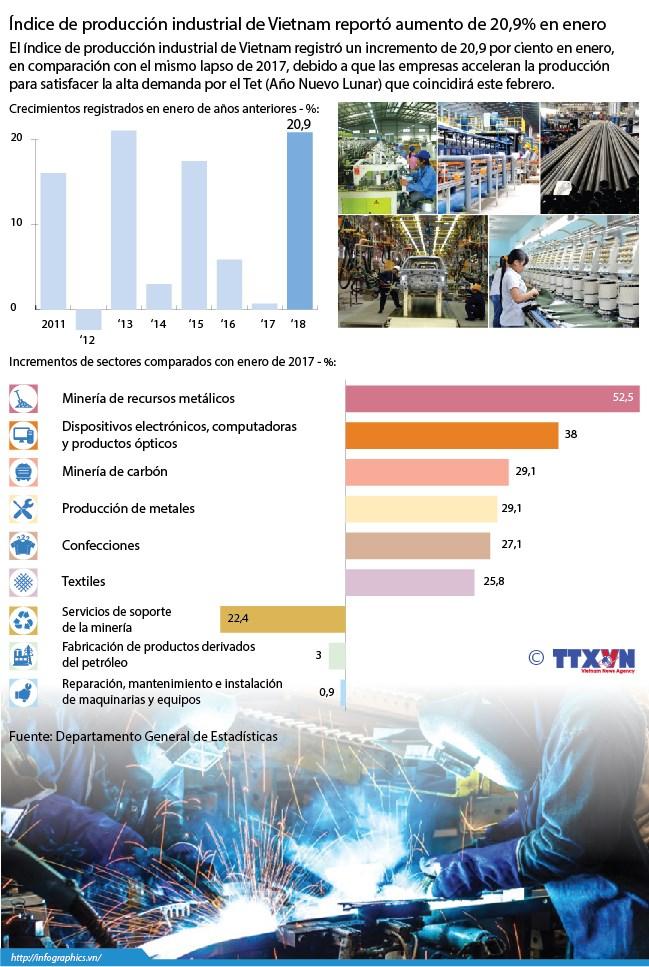 [Infografia] Indice de produccion industrial de Vietnam reporto aumento de 20,9% en enero hinh anh 1