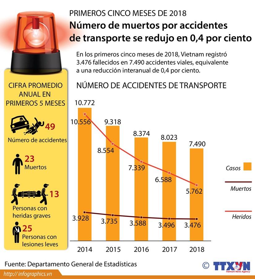 [Infografia] Numero de muertos por accidentes de transporte se redujo en 0,4 por ciento hinh anh 1