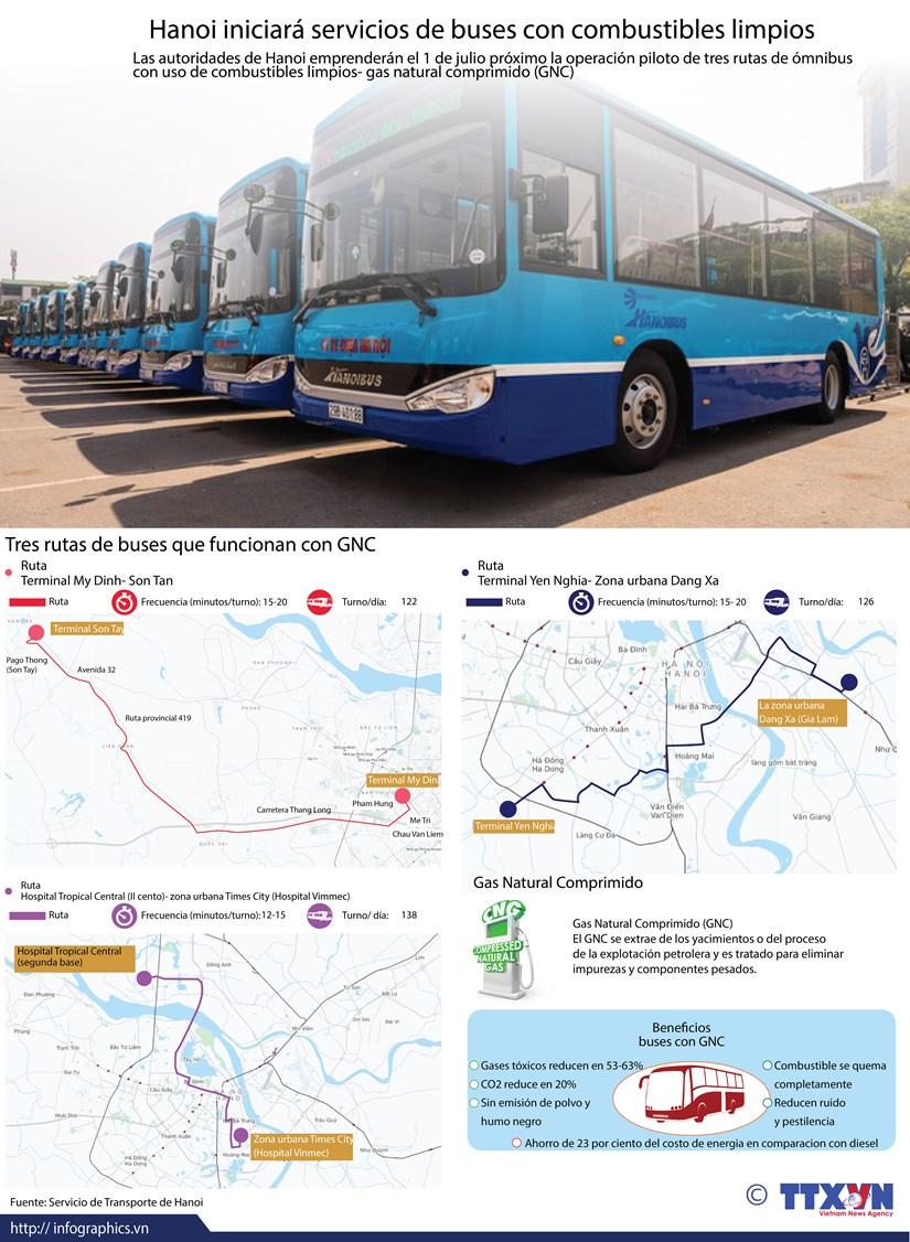 [Info]Hanoi iniciara servicios de buses con combustibles limpios hinh anh 1