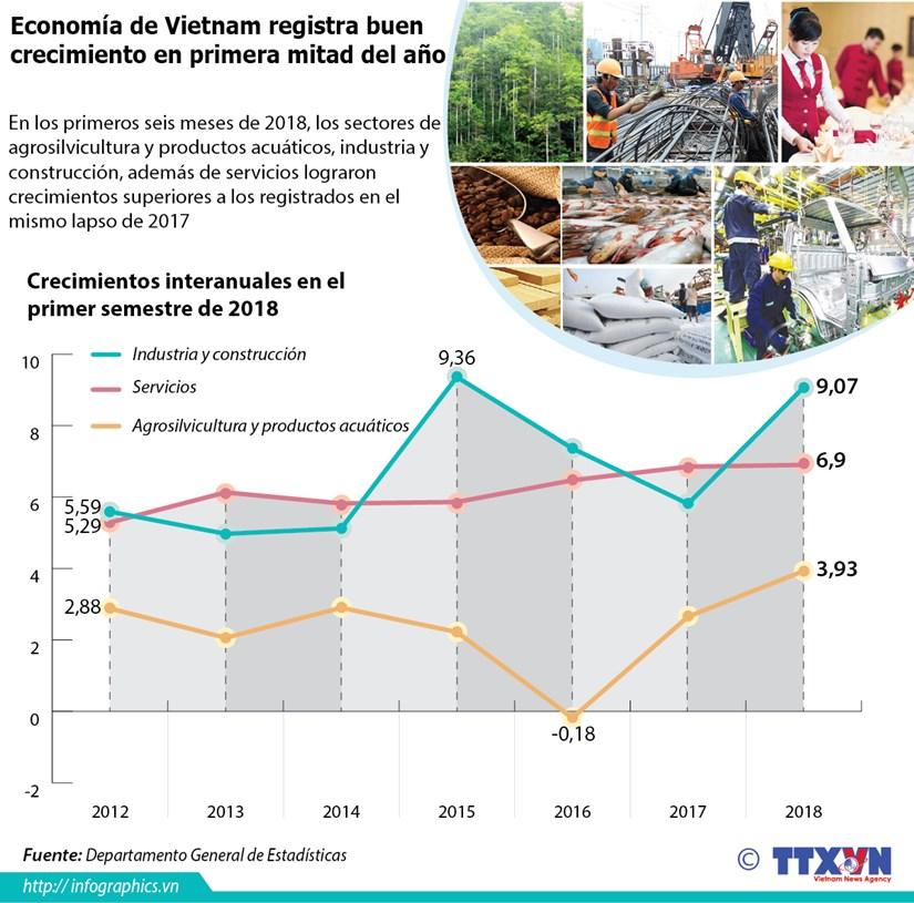[Infografia] Economia de Vietnam registra buen crecimiento en primera mitad del ano hinh anh 1