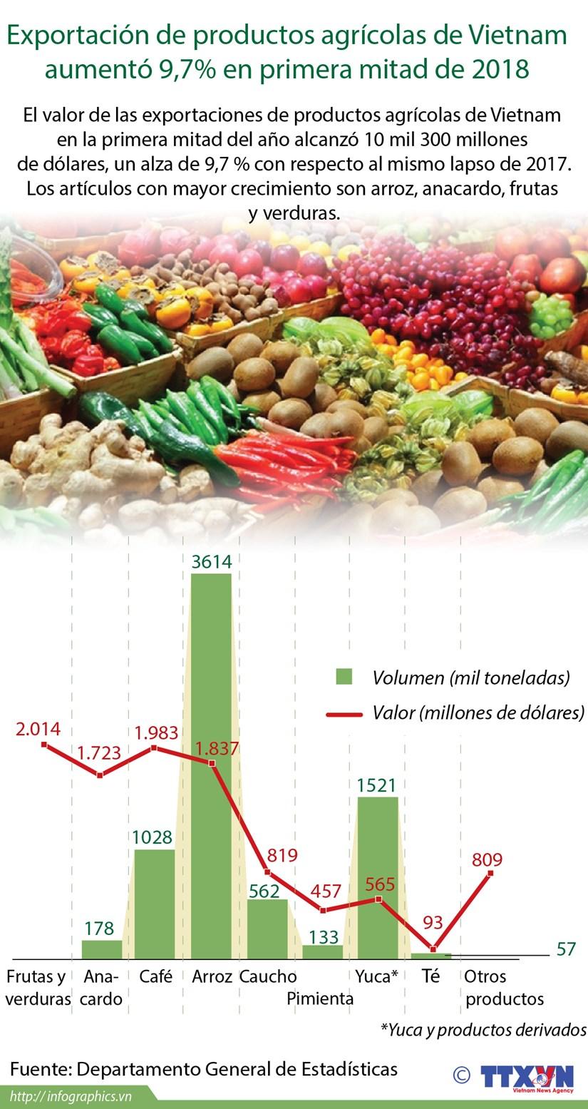 [Info] Exportacion de productos agricolas de Vietnam aumento 9,7% en primera mitad de 2018 hinh anh 1