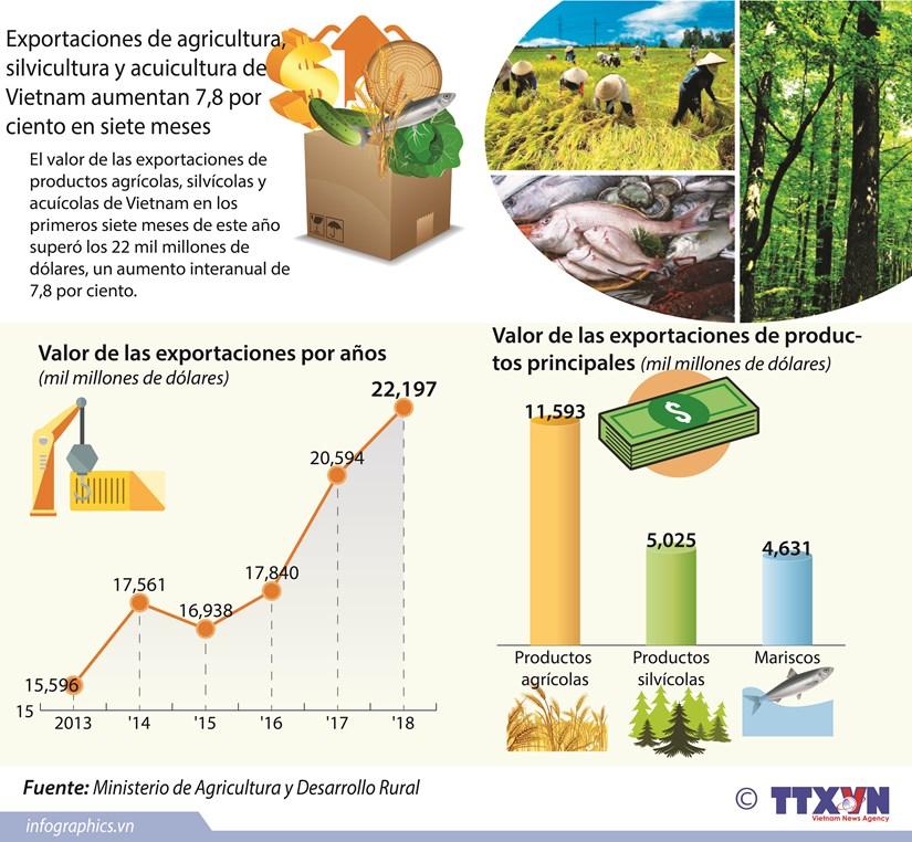 [Infografia] Exportacion de agricultura, silvicultura y acuicultura de Vietnam aumentan 7,8 por ciento en siete meses hinh anh 1
