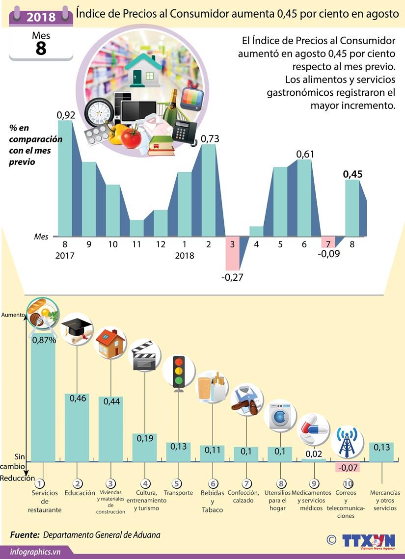 [Infografia] Indice de Precios al Consumidor aumenta 0,45 por ciento en agosto hinh anh 1