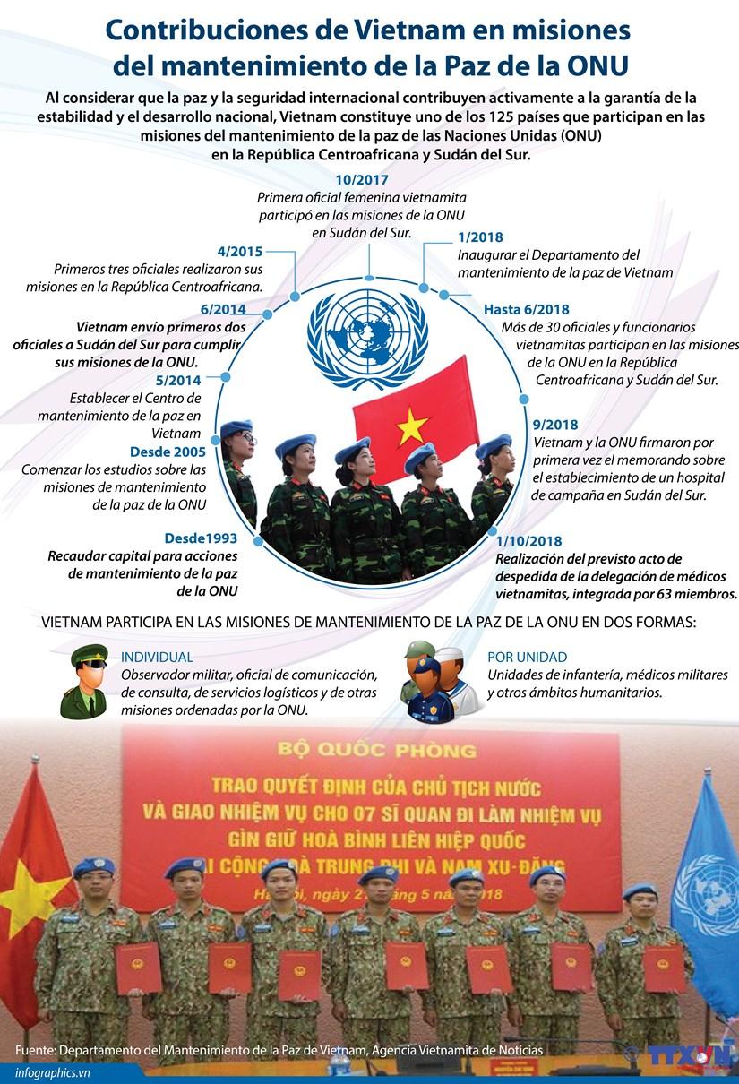 [Infografia] Contribuciones de Vietnam en misiones del mantenimiento de la Paz de la ONU hinh anh 1