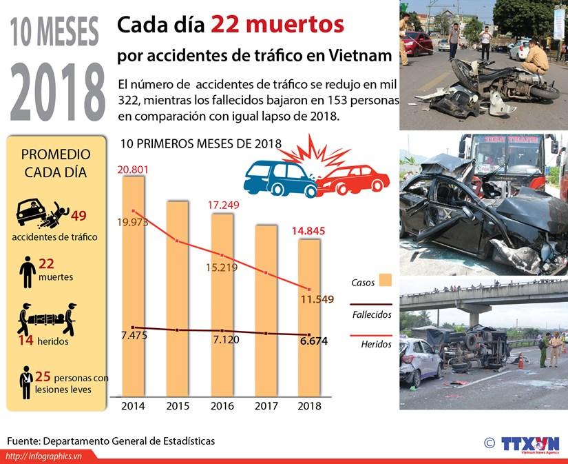 [Infografia] Vietnam registra cada dia 22 fallecidos por accidentes de trafico hinh anh 1