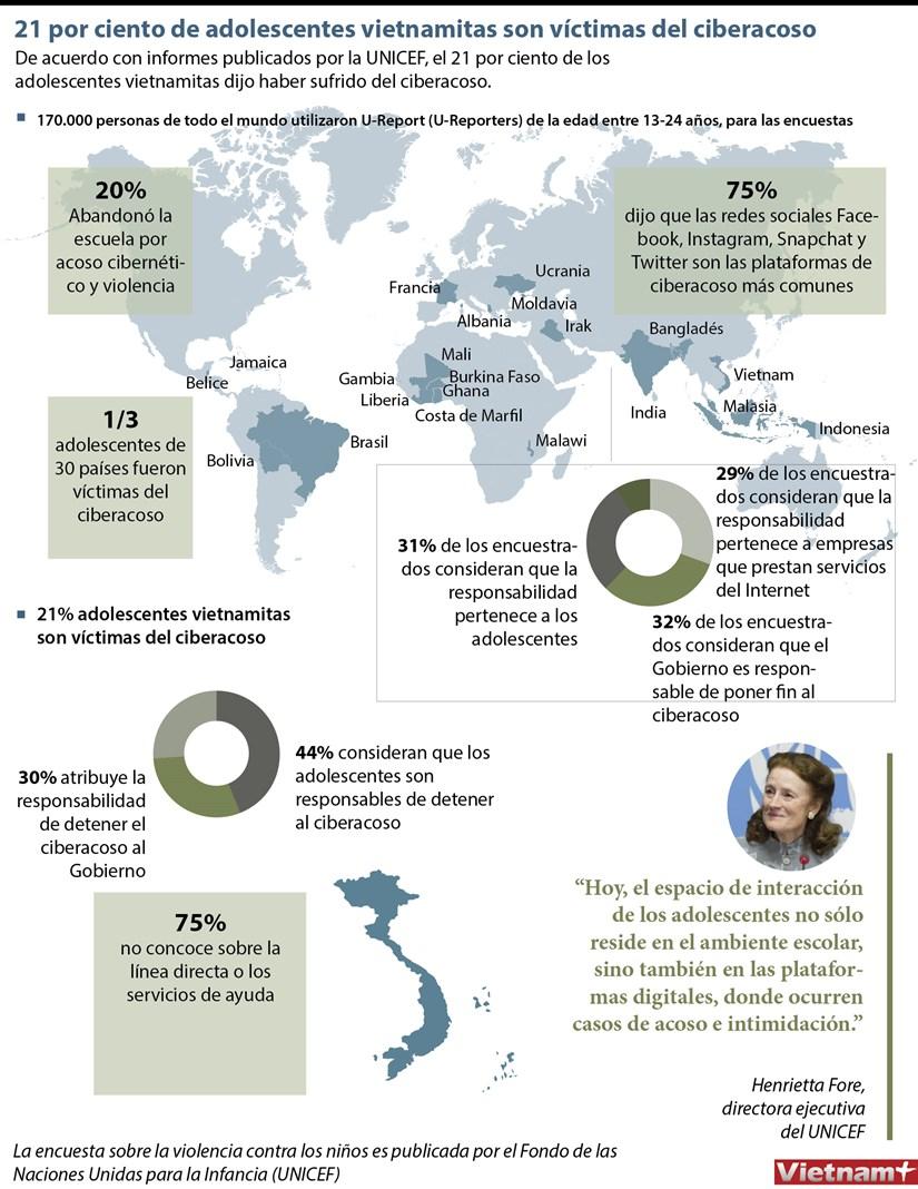 Un 21 por ciento de adolescentes vietnamitas son victimas del ciberacoso hinh anh 1