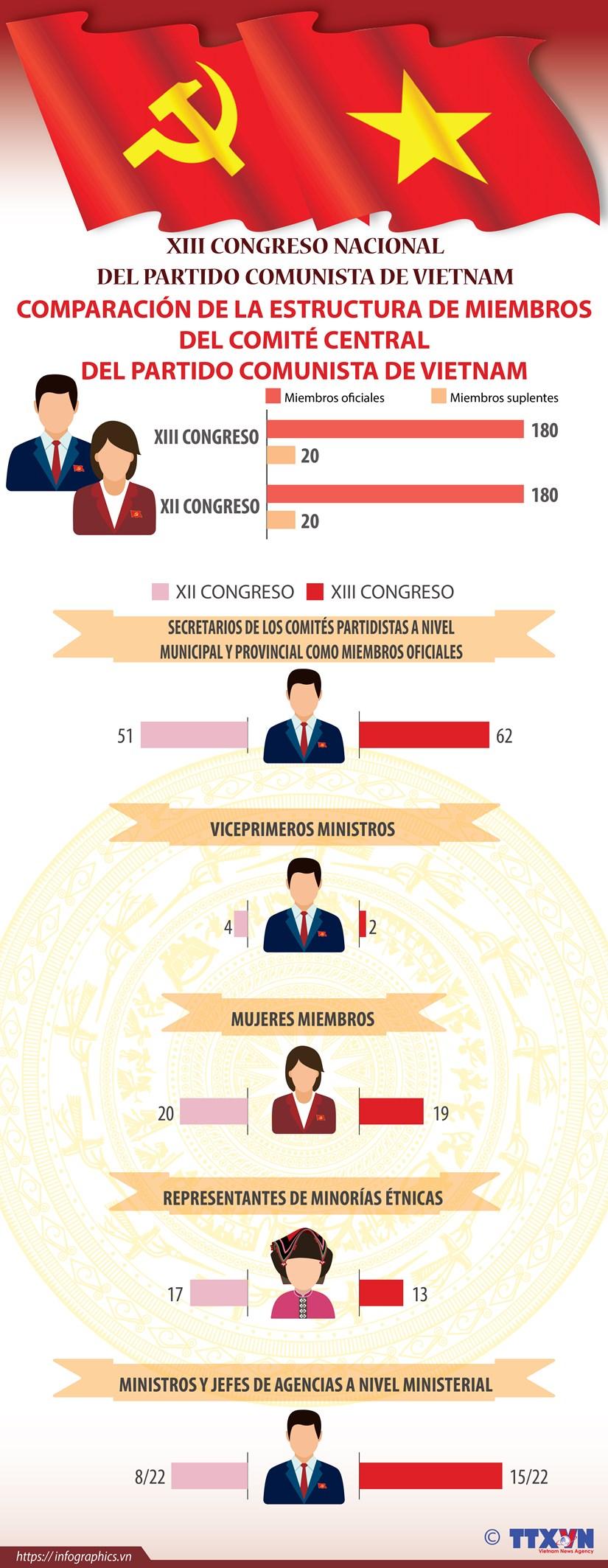Comparacion de la estructura de miembros del Comite Central del Partido Comunista de Vietnam hinh anh 1