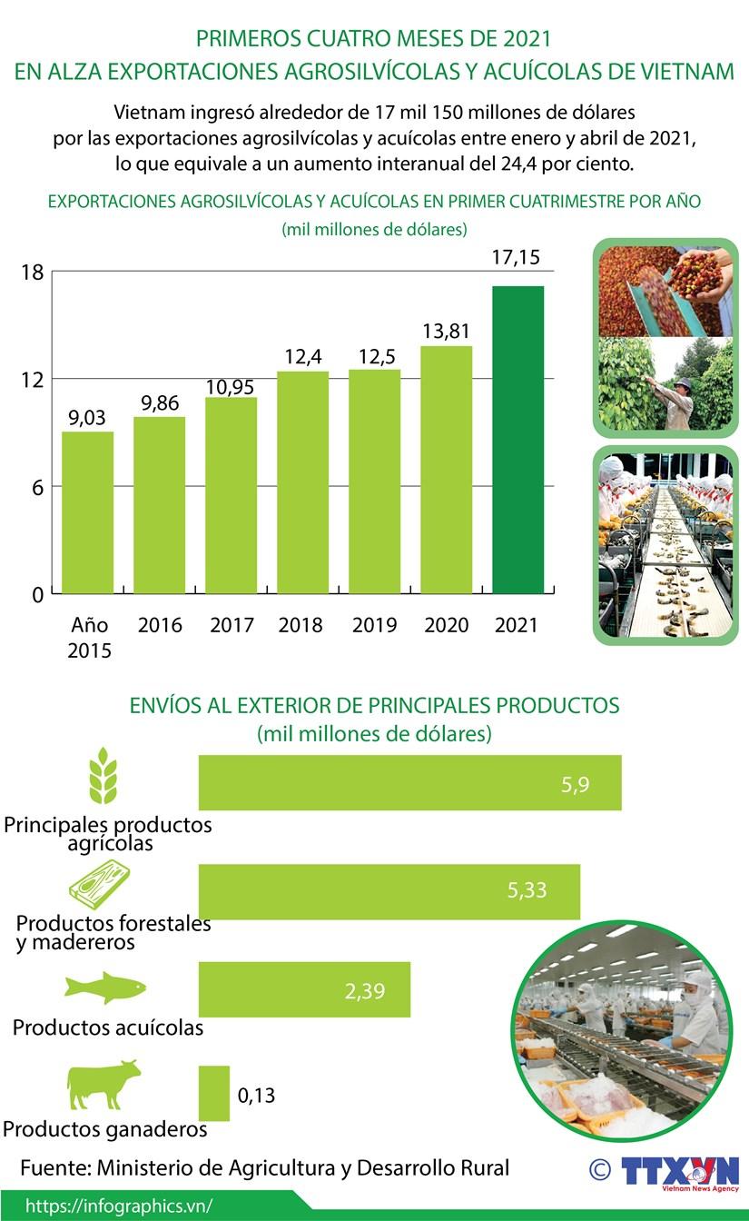 En alza exportaciones agrosilvicolas y acuicolas de Vietnam hinh anh 1