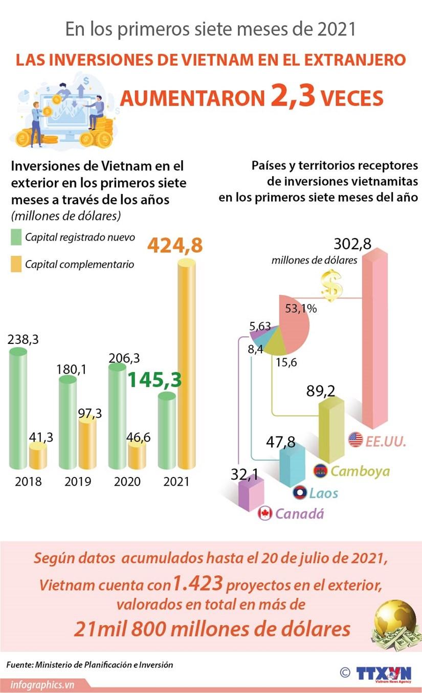 Aumentan inversiones vietnamitas en el extranjero en siete meses hinh anh 1