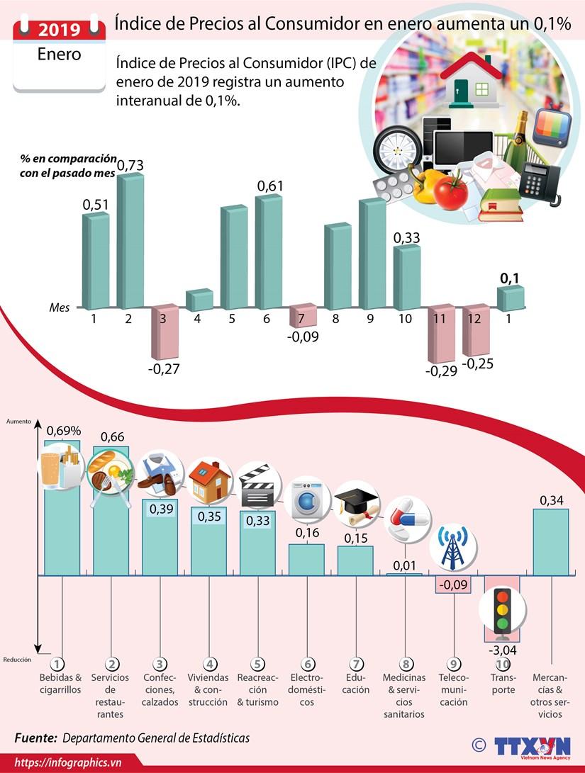 [Info] Indice de Precios al Consumidor en enero aumenta un 0,1 por ciento hinh anh 1