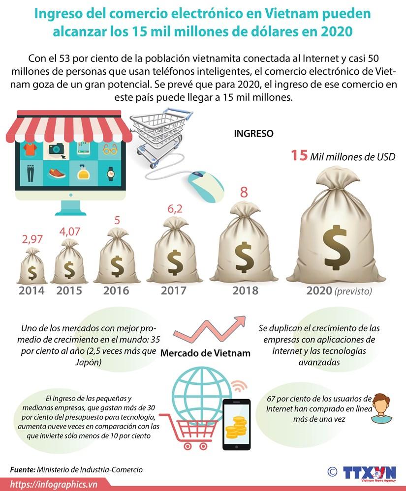 [Info] Ingresos del comercio electronico en Vietnam pueden alcanzar los 15 mil millones de dolares en 2020 hinh anh 1