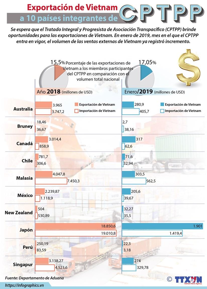 [Info] Exportacion de Vietnam con 10 paises integrantes del CPTPP hinh anh 1