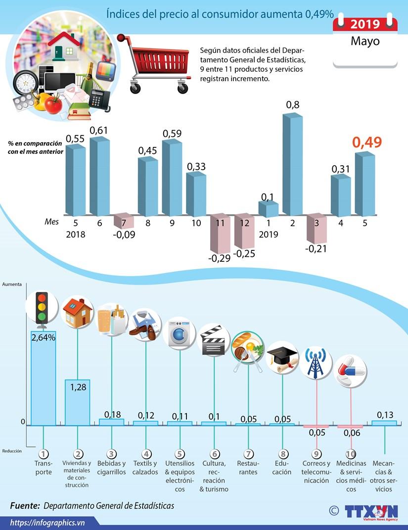 [Info] Indices del precio al consumidor en mayo aumenta 0,49% hinh anh 1