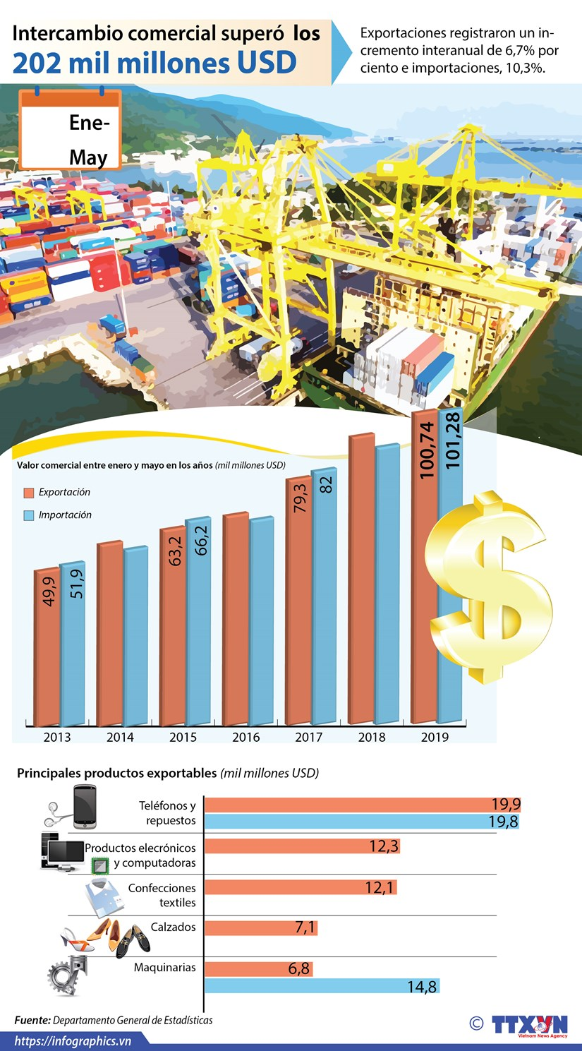 [Info] El intercambio comercial entre enero y mayo supera los 202 mil millones de dolares hinh anh 1