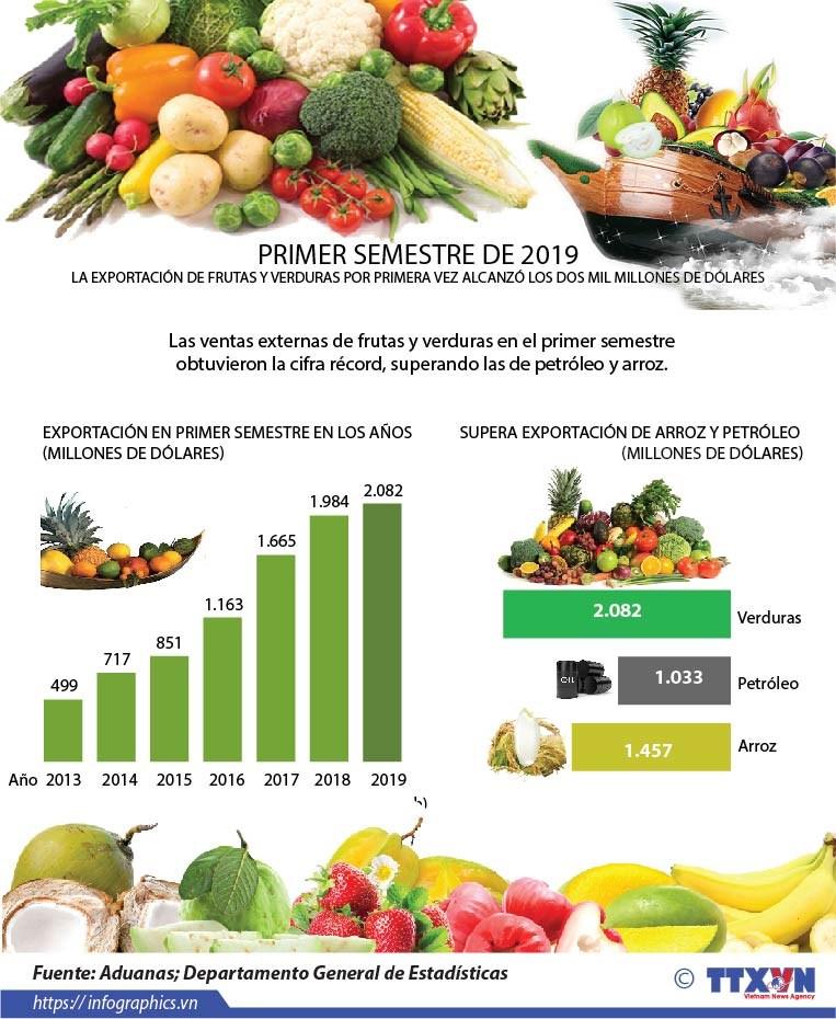 [Info] Las ventas externas de frutas y verduras en el primer semestre obtuvieron la cifra record hinh anh 1