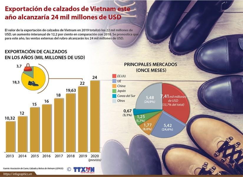 [Info] Exportacion de calzados de Vietnam en 2020 alcanzaria 24 mil millones de dolares hinh anh 1