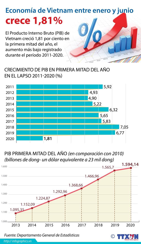 [Info] PIB de Vietnam crece 1,81 por ciento en la primera mitad de 2020 hinh anh 1