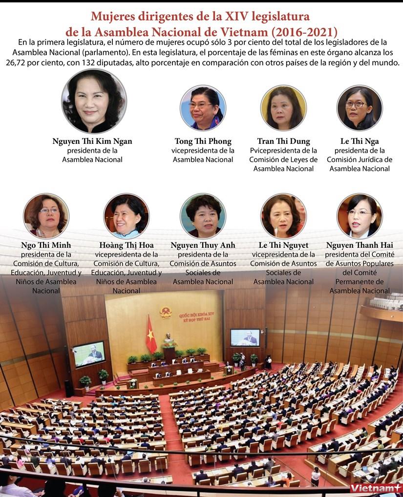[Info] Mujeres dirigentes de la XIV legislatura de la Asamblea Nacional de Vietnam (2016-2021) hinh anh 1