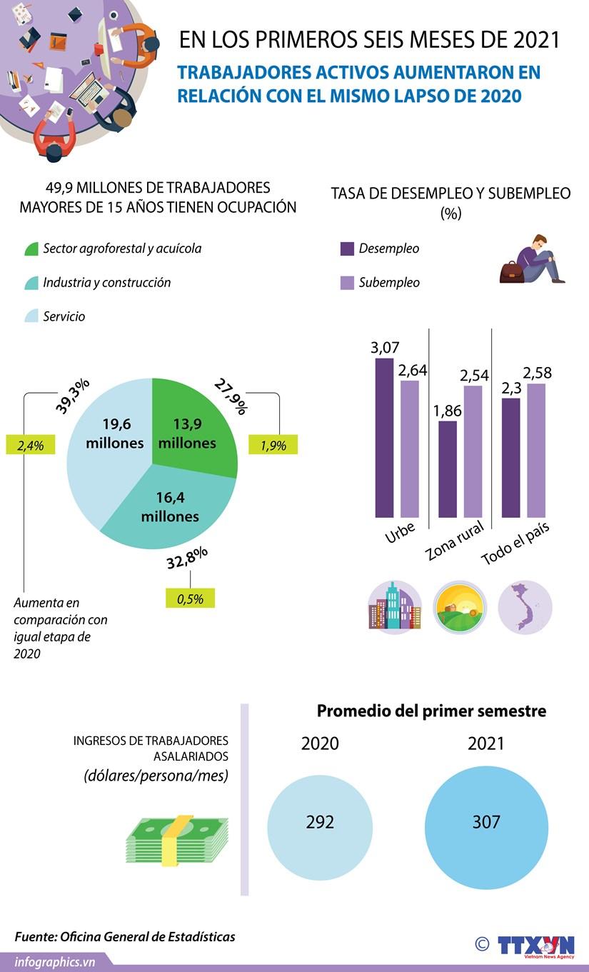 Trabajadores activos aumentan durante los primeros seis meses del ano hinh anh 1